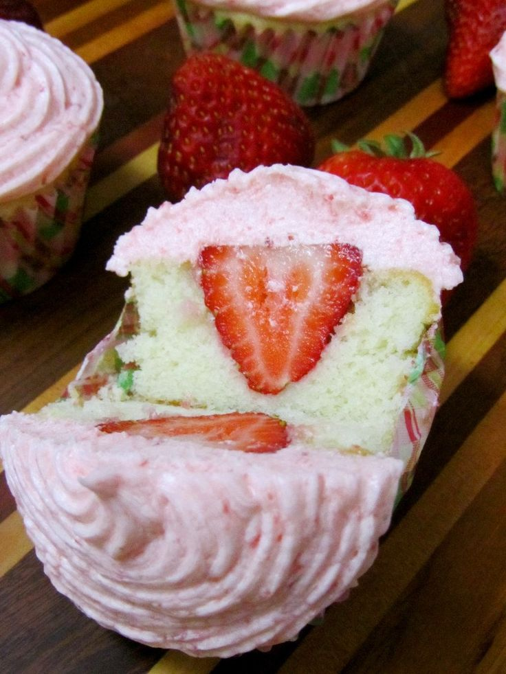 Strawberry Stuffed Cupcakes (one dozen) by WildWitchKitsch on Etsy