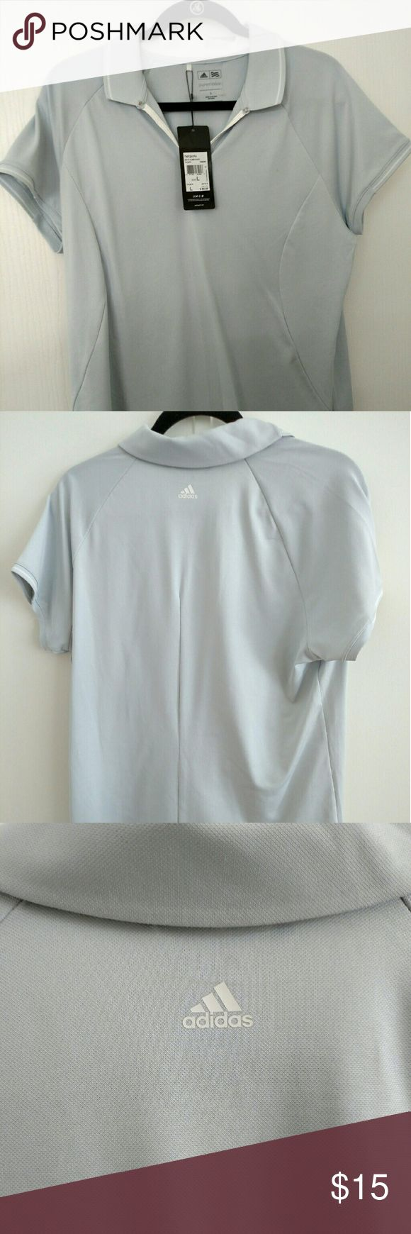 Adidas pure motion golf shirt sz Lg NWT Adidas?Womens Golf Shirt provides outstanding comfort and a great fit for all players. The Adidas puremotion fabric is lightweight & breathable keeping you dry all day long.  Adidas Womens  Puremotion stretch fabric is lightweight Breathable design Contrast piping at collar Anti-roll collar adidas logo on back neck yoke 100% polyester jersey Machine wash only Adidas Tops