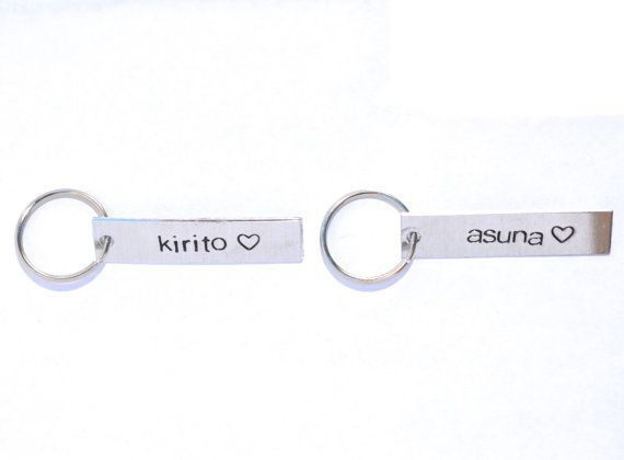 kirito and asuna sao inspired keychain set by TeamNeville on Etsy