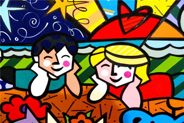 Free Shipping RB Painting Wallpapers Cartoon Two Kids Custom Canvas Posters Romero Britto Stickers Home Decor #PN#958#