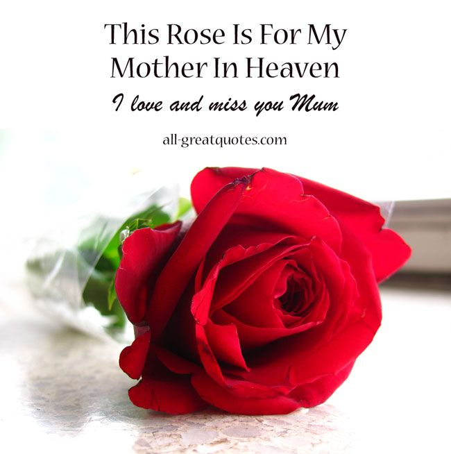 This Rose Is For My Mother In Heaven Sayings Mom Miss You Mum