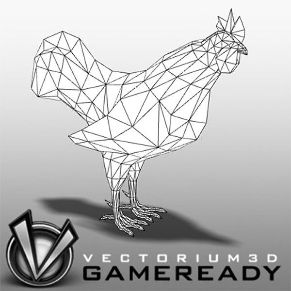 rooster hen chicken 3d model - Animals - Game Ready - Rooster... by Vectorium