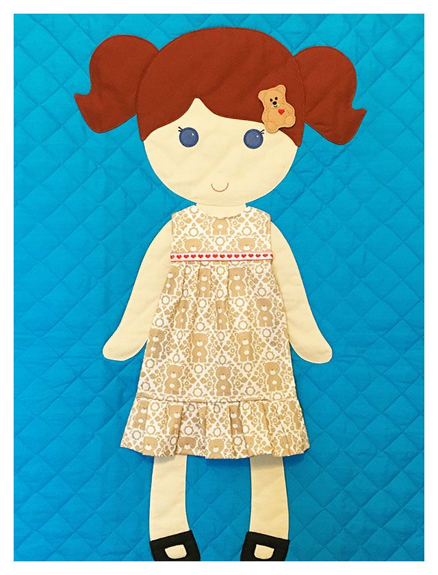 Paper Doll Blanket - Redhead on turquoise background with teddy bear pajama