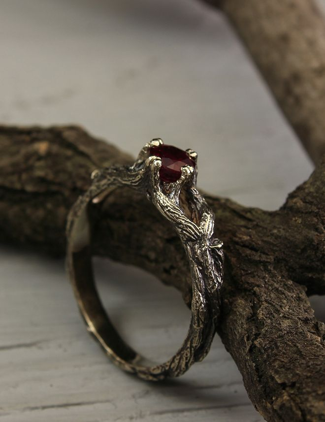 Tree Engagement Ring With Ruby Unique Twig Engagement Ring Etsy Twig Engagement Ring Unusual Engagement Rings Ruby Engagement Ring