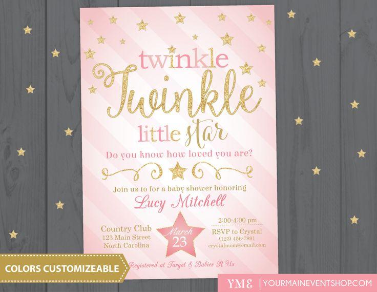 Twinkle Twinkle Little Star Baby Shower Invitation, Twinkle Twinkle Shower Invitation, Pink and Gold Star Invitation, Girl Baby Shower by YourMainEventPrints on Etsy https://www.etsy.com/listing/268060959/twinkle-twinkle-little-star-baby-shower