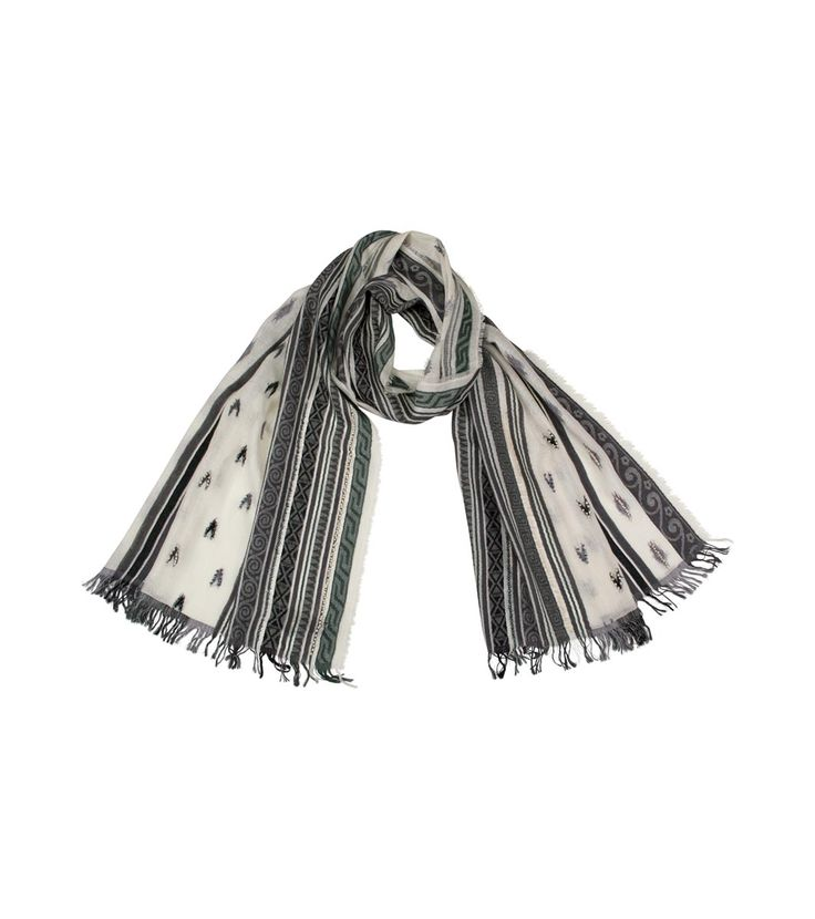 Eșarfă în alb-negru Naya - Accesorii - Shirin Sehan - eșarfe florale - Fulare