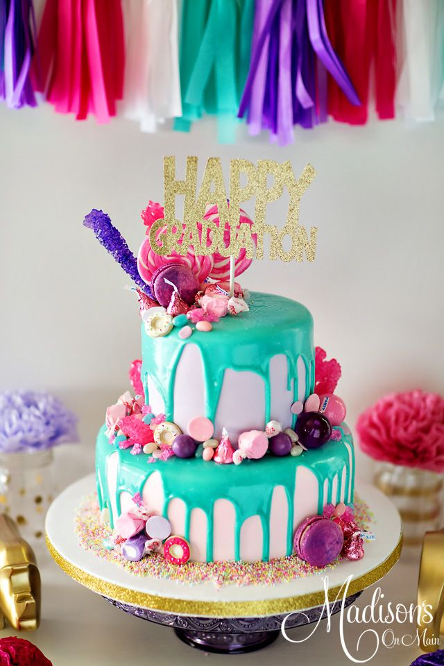 Graduation Drip Cake With Lots Of Candy Cake Adult