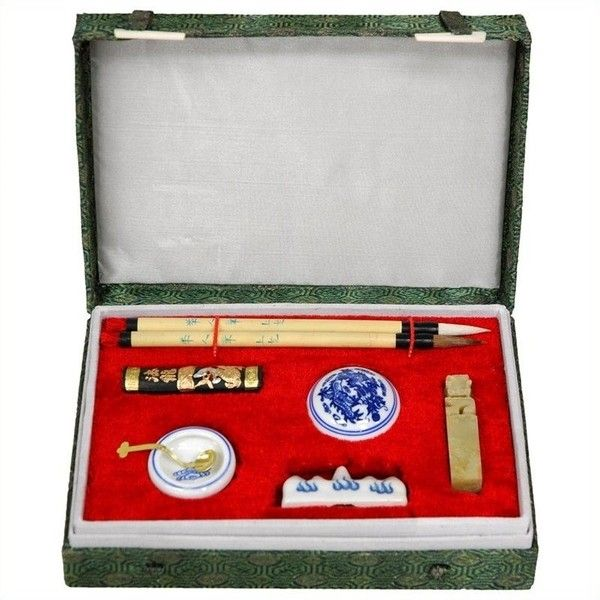Oriental Furniture Calligraphy Writing Set ($27) ❤ liked on Polyvore featuring home, home decor, office accessories, oriental jars, calligraphy writing set and asian jars