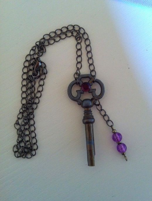 Necklace with old key and violet glass beads. Ecological handmade creations http://melylefay.wix.com/avaloncreations
