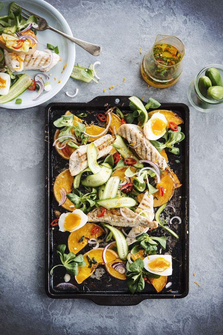 Kalkoen met salade van sinaasappel & butternut