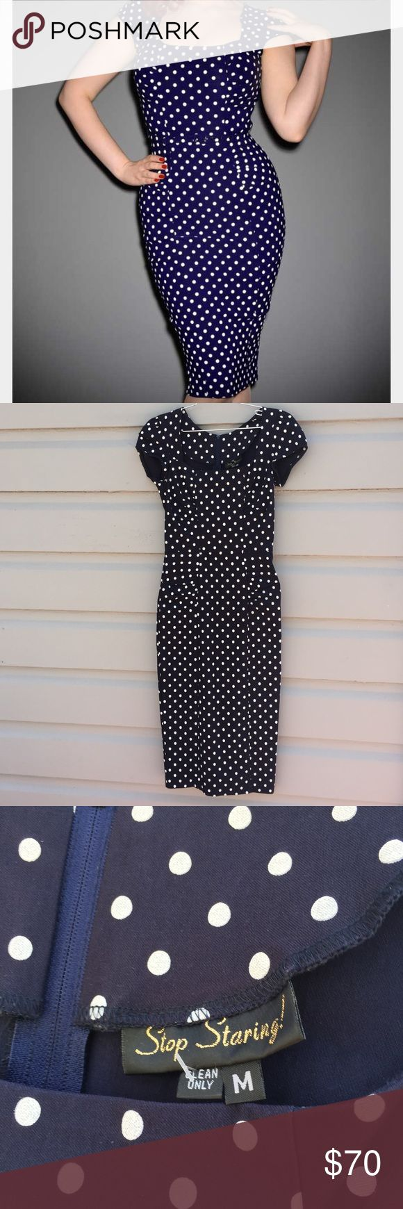 Stop Staring Celebrity dress navy medium BNWOT flawless and stunning dress with pin up appeal by Stop Staring in size medium. Fun navy polka dot print, plenty of stretch. A dream! Stop Staring Dresses Midi