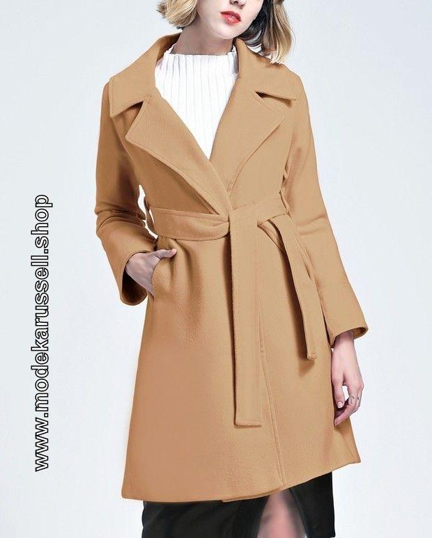 Damen Wickel Mantel aus Wolle in Beige