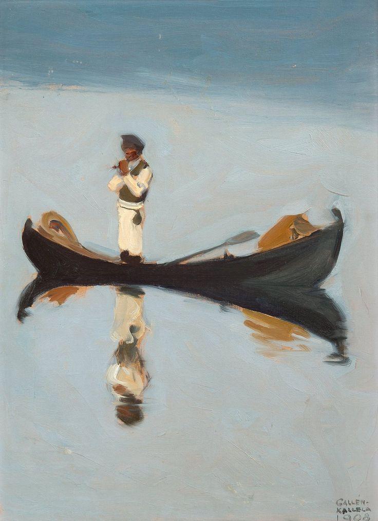 Akseli Gallen-Kallela (Finnish, 1865-1931), Muikkuja vartoomassa [Man fishing], 1908.
