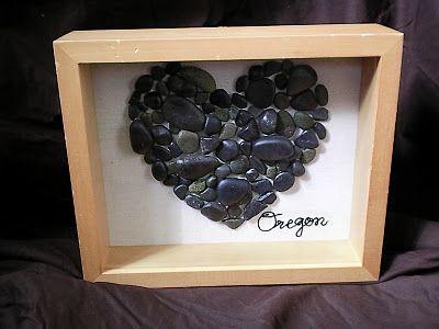 Shadow Box Souvenir - use petosky stones for MI, limestone for IN...