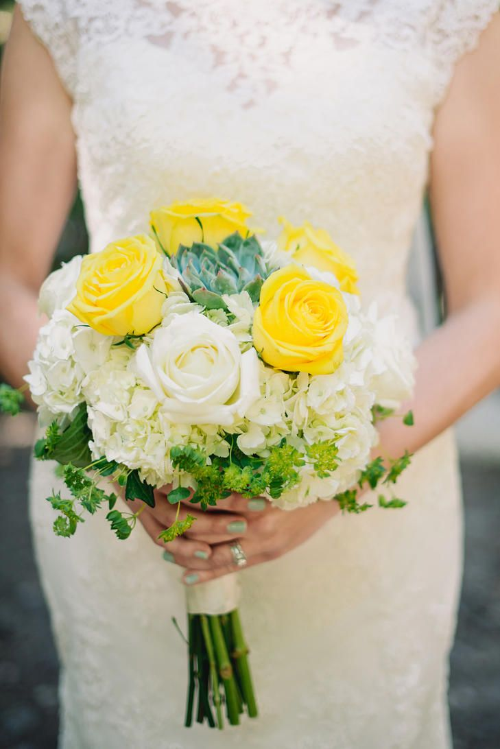 Summer Wedding Bouquet Idea   Yellow And White Roses With White Hydrangeas  + Green Succulents {James Tang Photography}
