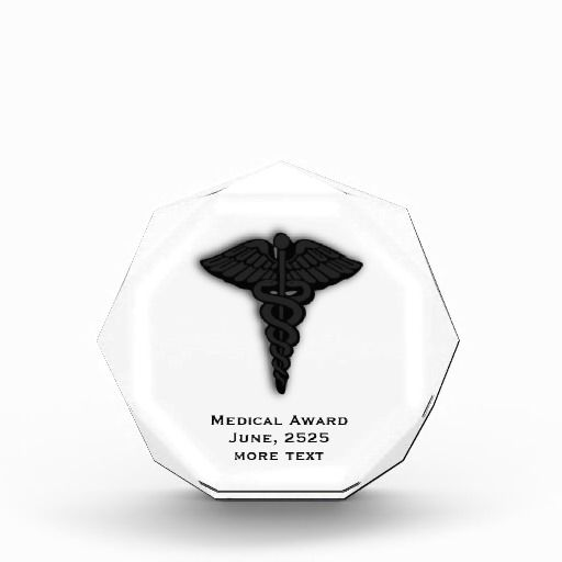 Customize three lines of text on this trophy with a medical insignia Medical Insignia Caduceus Acrylic Trophy Acrylic Award by kahmier