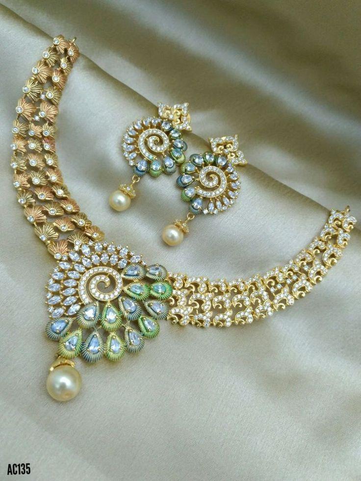 Indian Necklace Diwali Designer Jewelry AD Fashion Ethnic Diamond Wedding RKOL #Unbranded