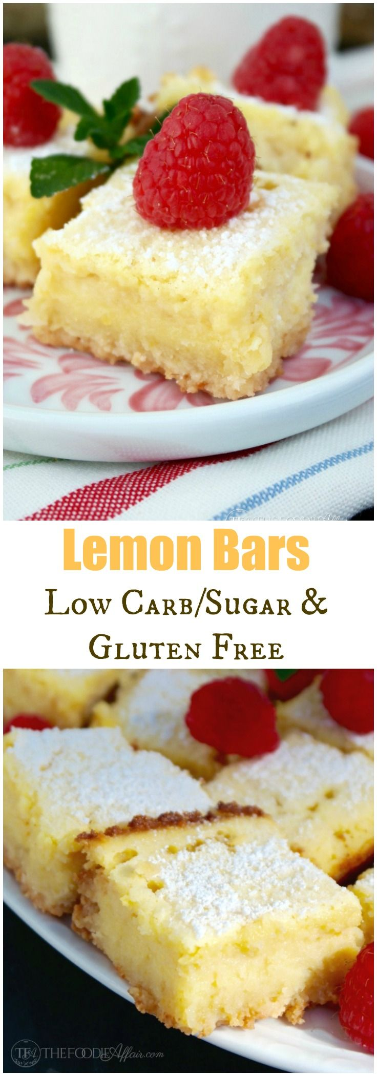 Keto Lemon Bars that are low carb and gluten free! These delicious bars have all the flavor of an ordinary bar, but can be enjoyed by those watching their carb and sugar intake. Keto friendly too! The Foodie Affair