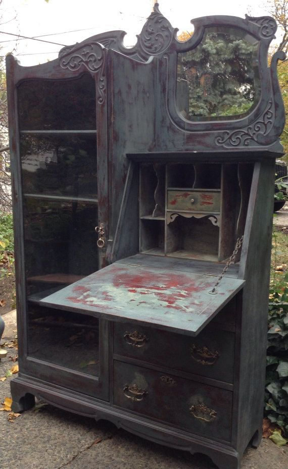 Antique Secretary Desk With Glass Door Painted by DareToBeVintage