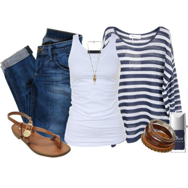 striped top, white tee & jeans