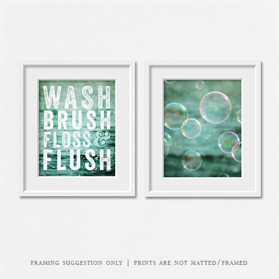 KIDS BATHROOM ART SET My Wash, Brush, Floss and Flush print is so popular I created another piece to match it! With this set you receive two