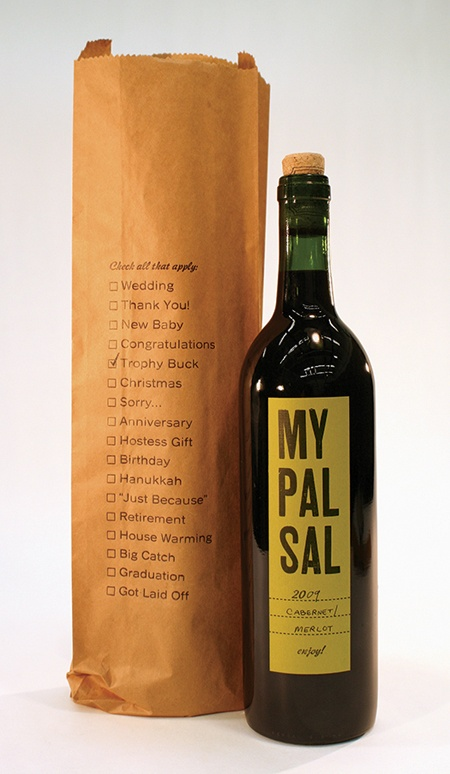 promotion idea - paper bag for wine with 'grocery list' of items that go well with different kinds of wines.