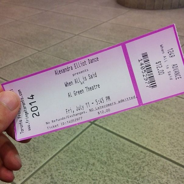 Tickets ready for Alexandra Elliot Dance's When All is Said & GET SERVED at the Al Green Theatre.