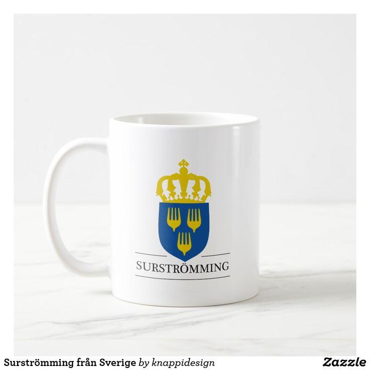 Surströmming från Sverige. Två bild per mugg.  #surströmming #surstromming #swedish #svenska #sverige #mat #food #swedishfood #svenskamat #coatofarms #krona #humor #kaffemugg #muggar #konstigt