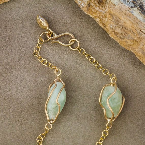 Caged Raw Aquamarine Bracelet in 14K Yellow Gold by ZEHAVAJEWELRY