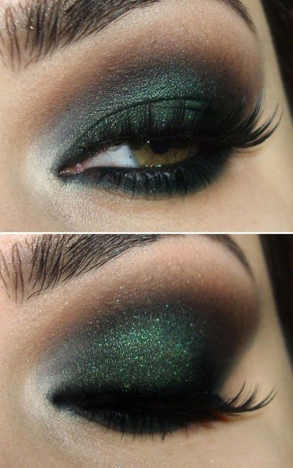 Dark green and black eye makeup w/ a bit of sparkles.