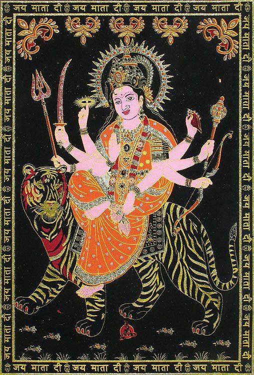 Mata Vaishno Devi - (Silver and Golden Glitter Painting) (Painting on Velvet Cloth - Unframed)