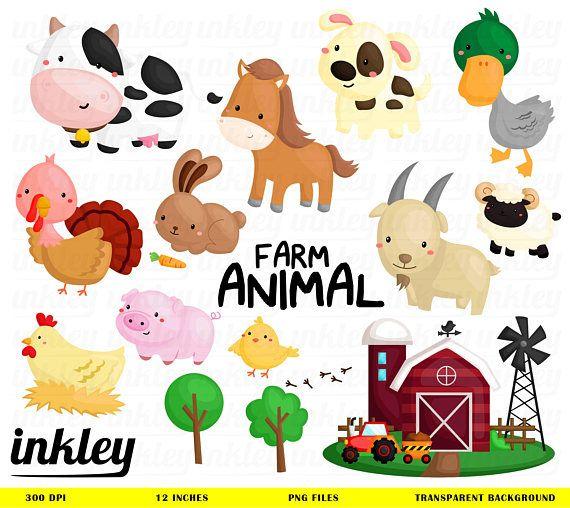 Farm Animal Clipart Cute Animal Clip Art Cow And Sheep Etsy In 2020 Cute Animal Clipart Animal Clipart Farm Animals
