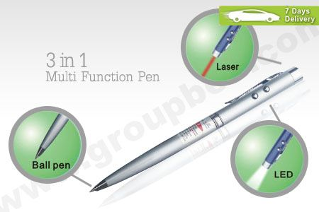 3 in 1 Multi function Pen, laser pointer, led light and ballpoint pen. Only Rp 20.000 http://groupbeli.com/view.php?id=786