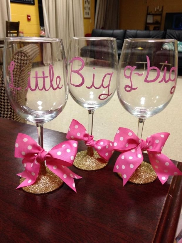 Little, Big Wine Glasses | 19 Sorority Crafts to Make This Summer, by Category | http://www.hercampus.com/life/campus-life/19-sorority-crafts-make-summer-category