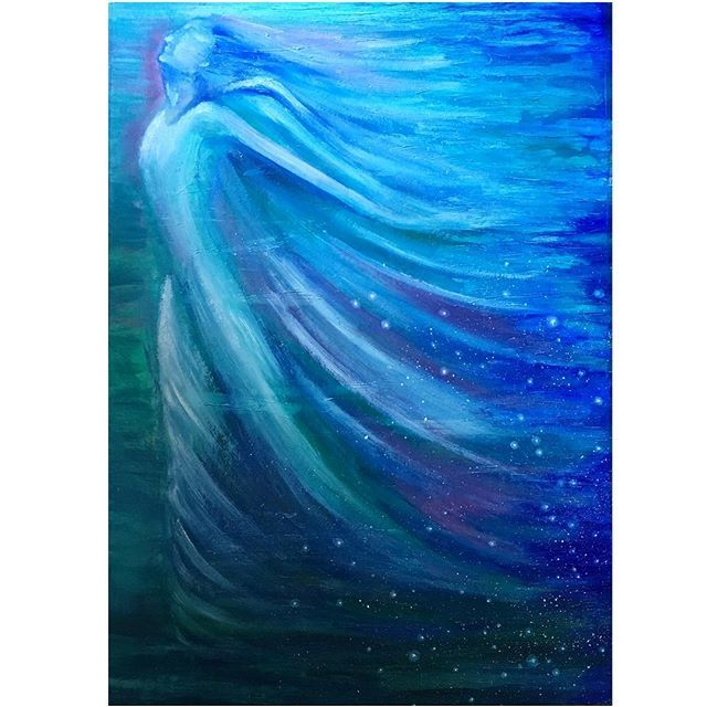 I had so much fun with my last angel I felt like making another twice the size. #myart #art#oilpainting #colours #blue#green #freestyle #angel #flow #fly #nofilter