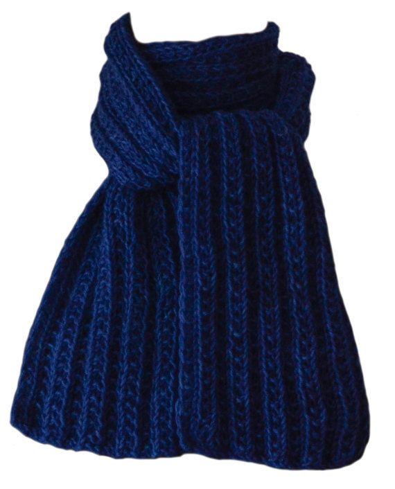 Hand Knit Scarf  Polar Sea Blue Keji by StudioatRedTopRanch