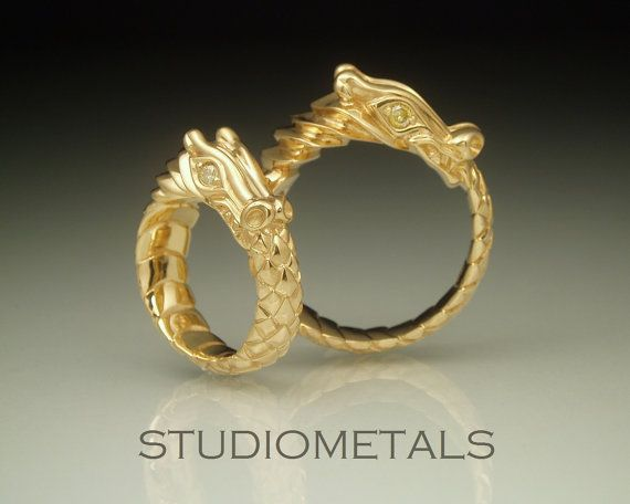Elegant If I had it to do all over again Gold Dragon Wedding Bands Matching