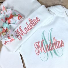 Personalized Coming Home Outfit Monogram Coral by StitchinDoodle