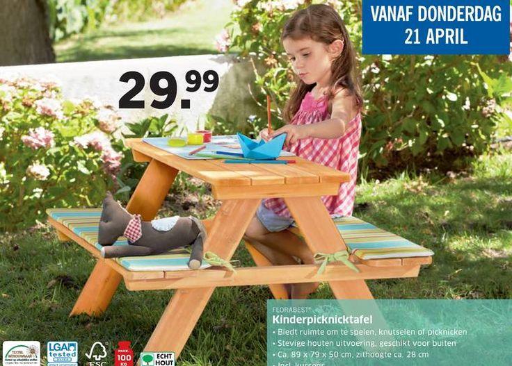 kinderpicknicktafel tested florabest ruimte spelen knutselen picknicken houten uitvoering buiten 50 cm zithoogte 28  folder aanbieding bij Lidl