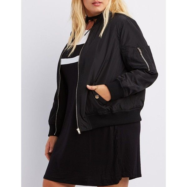 Charlotte Russe Zip-Up Bomber Jacket ($41) ❤ liked on Polyvore featuring plus size women's fashion, plus size clothing, plus size outerwear, plus size jackets, black, flight jacket, plus size lightweight jacket, blouson jacket and zip up jackets