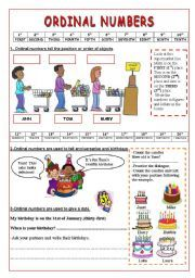 English worksheet: Ordinal Numbers- 2 pages of uses and exercises