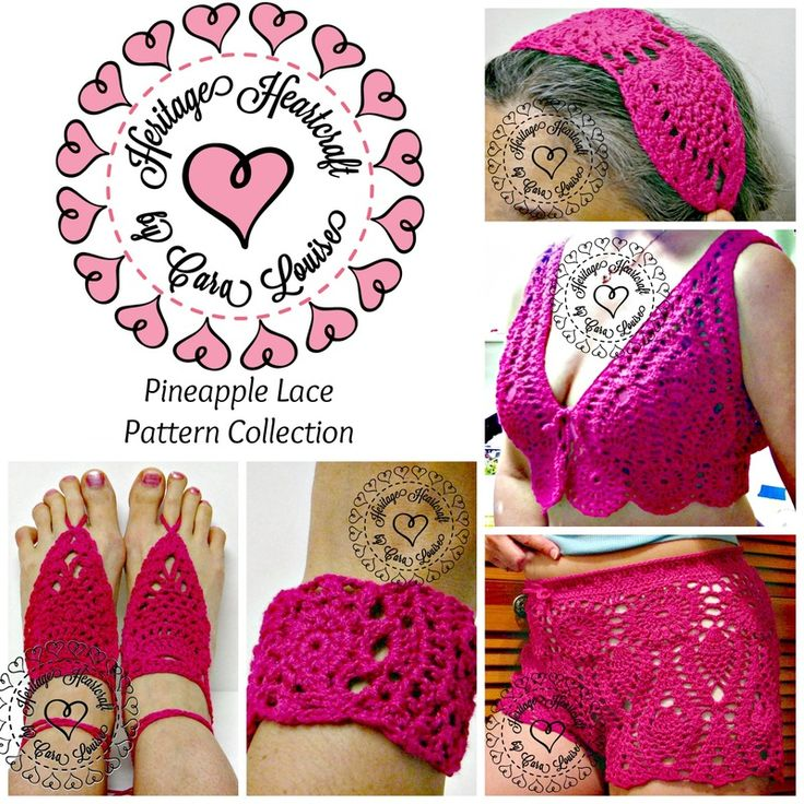 The classic crochet pineapple motif meets today's fun summer fashion accessories!  Pattern collection includes all 5 Pineapple Lace patterns: Shorts and Cropped Vest are the perfect lacy accent over your bikini for a bit of classic glamour.  Matching HairWrap, Barefoot Sandals, and Cuff Bracelet complete this summer ensemble. Crochet up some summer fun!