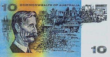 Australian $10 decimal paper note - Back.