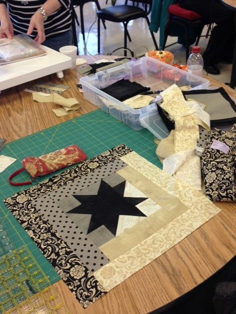 Use any pattern as the center and then log cabin strips until the block is the size you want.