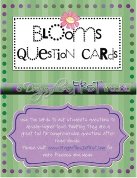 These question card FREEBIES are based upon Bloom's Taxonomy. Use them to promote higher-level thinking during lessons and after reading. Color-code for easier use: I was thinking colored Popsicle sticks in different containers. Kids have to pick one of each color and answer those questions.