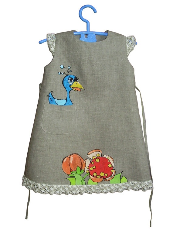 Check out her other painted dresses too!  So CUTE!    Painted dress  grey color linen  unit work  size by by InGAartWork, $47.00