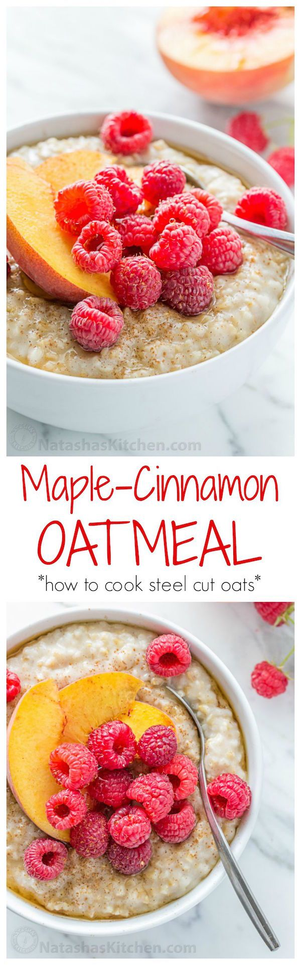 Steel Cut Oats are surprisingly easy to make and it's kid friendly! The texture, flavor and goodness of real oatmeal can't be beat! | natashaskitchen.com