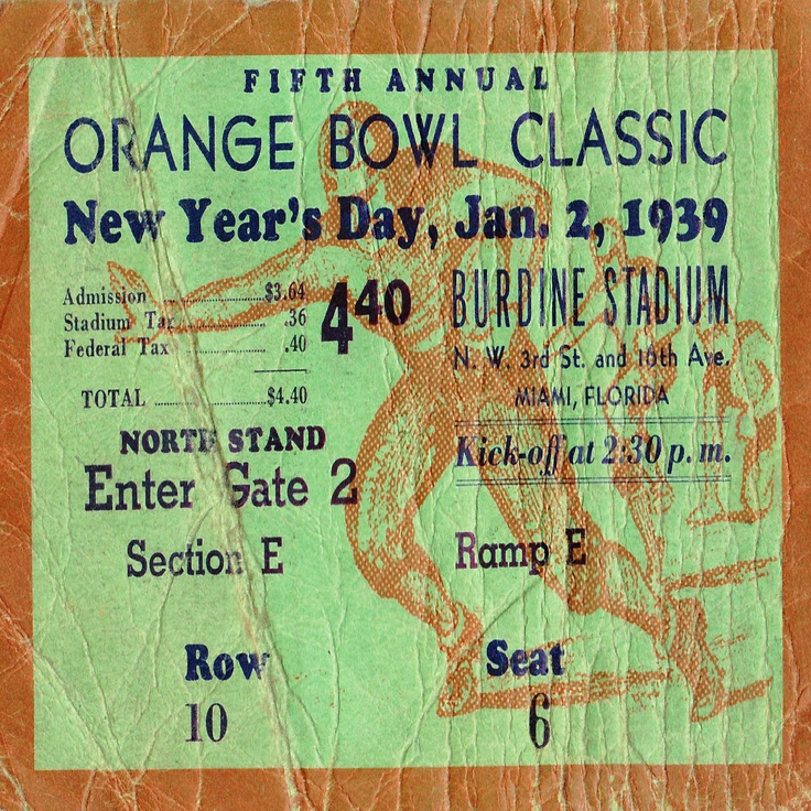 Tennessee football ticket drink coasters made from a 1939 Orange Bowl ticket. http://www.shop.47straightposters.com/Drink-Coasters_c74.htm