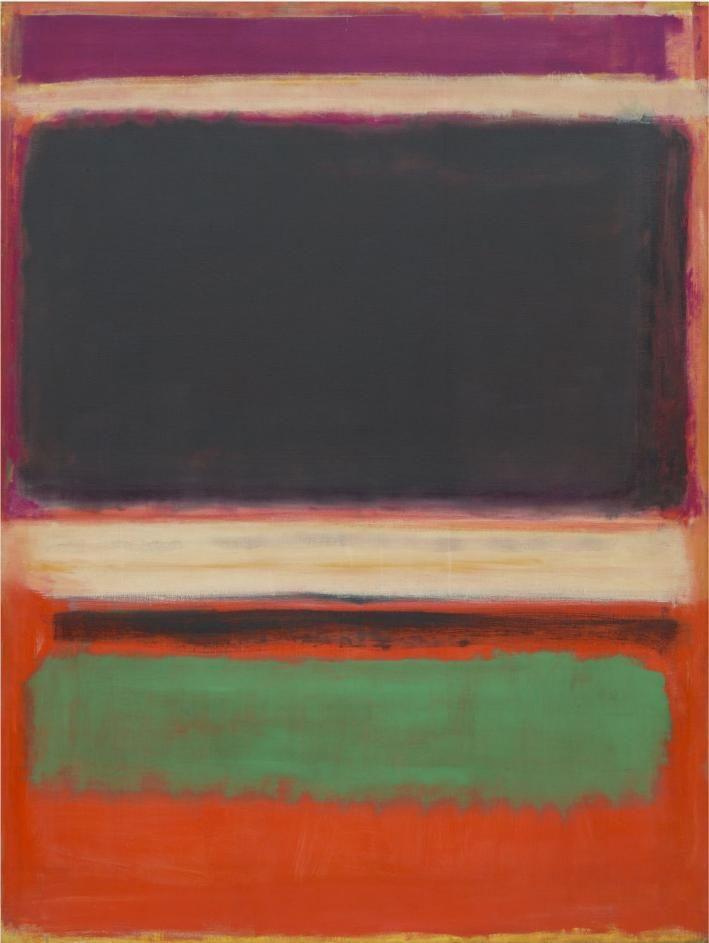 "artist-rothko: ""No.3/No.13 (Magenta, Black, Green on Orange), 1949, Mark Rothko Medium: oil"""