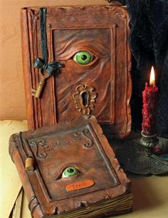 Straight from the restricted section of Hogwart's library, evil eye spell books. These remind me of the book in Hocus Pocus